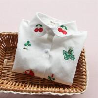 女童衬衫2017春装新款宝宝卡通小狐狸刺绣长袖纯棉条纹衬衫白衬衣