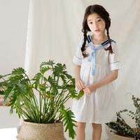 2018夏季新款童装中大童短袖连衣裙韩版女童海军风学生裙百褶裙子