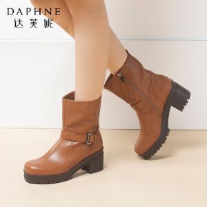 Daphne/达芙妮正品冬季新款圆头皮带扣拉链粗跟女短靴