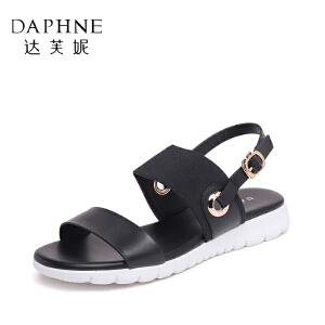 Daphne/达芙妮夏季款女鞋日常平底搭扣松紧布凉鞋女-