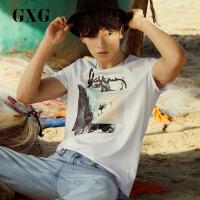 【GXG过年不打烊】GXG男装 夏季男士百搭舒适白色纯棉圆领短袖T恤潮#172844168