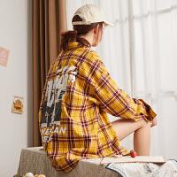 [2.5折价68.9元]唐狮2019格子衬衫女韩版宽松长袖女上衣春秋复古中长