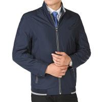 中年男士夹克衫加大加肥中老年人夹克男装休闲外套薄款立领爸爸装 藏青色