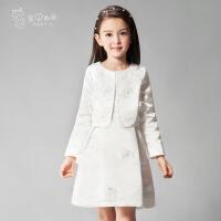 进口缎纹面料女童两件套礼服裙长袖儿童公主裙连衣裙生日小礼服