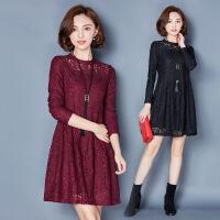 连衣裙立领年冬季长袖短裙挂脖式纯色时尚