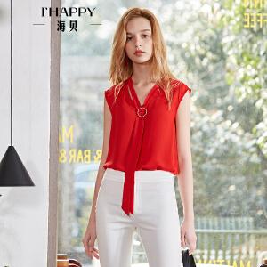 海贝2018夏装新款女上衣 韩版OL气质V领飘带纯色雪纺轻薄无袖衬衫