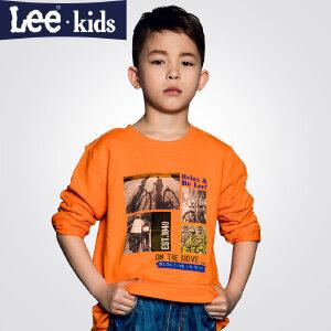 LEE童装  秋季新品男童时尚休闲百搭上衣 中大童圆领长袖T恤