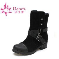 【年终狂欢】达芙妮女靴 低跟磨砂铆钉扣带女短靴
