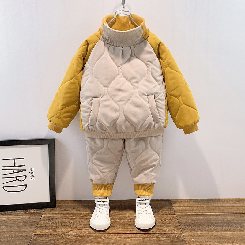 小童棉衣套装潮秋冬装宝宝洋气两件套