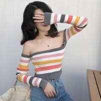 20180327131333353秋装新款彩虹甜美韩版露肩长袖上衣一字领条纹套头毛衣针织衫女装