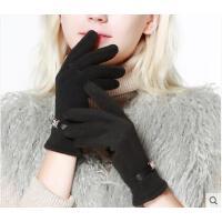 花朵皮口纯色分指手套保暖女士手套不倒绒全指触摸屏时尚加绒加厚