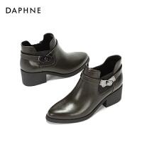 Daphne/达芙妮2017冬切尔西短靴 英伦风及踝靴马丁靴时尚女靴