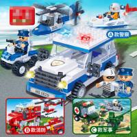 积木小颗粒益智塑料拼插儿童警察男孩玩具城市消防飞机车船