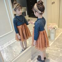 女童连衣裙春装儿童春秋洋气针织长袖裙子女孩蕾丝公主裙