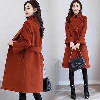 2017秋冬新款韩版女装毛呢外套显瘦宽松中长款毛呢大衣 KY8206米白色