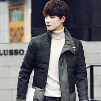 男士新款迷彩羽绒服男冬季加厚短款韩版青年学生外套反季 军绿色 M