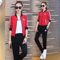 休闲运动套装女秋季新款韩版潮流显瘦棒球服女卫衣三件套 XX