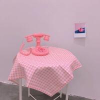 韩风ins日系少女心粉色格子可爱甜美拍摄背景布桌布房间装饰道具 桌布(粉色格子) 60*60cm