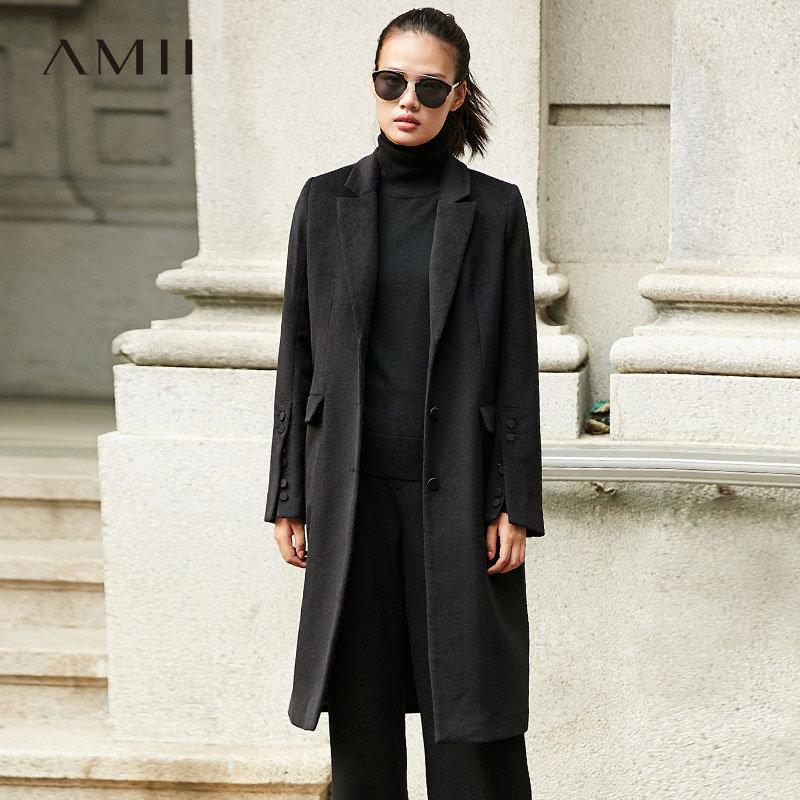 【到手价248元】Amii极简高端帅气排扣开衩毛呢外套女2018冬新翻驳领长款修身大衣.