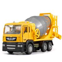 搅拌车水泥混凝土工程车声光版回力合金汽车模型儿童礼品玩具