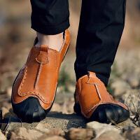 2018新款男鞋真牛皮休闲鞋男士皮鞋软底韩版潮流鞋英伦豆豆鞋子