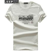 JEEP吉普短袖T恤男夏季薄款印花打底衫男士时尚休闲圆领男装半袖t恤
