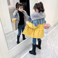 女童棉衣冬装洋气儿童派克服棉袄中大童牛仔加绒外套