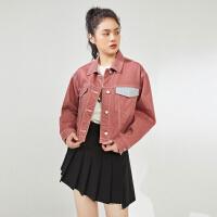 太平鸟撞色拼接牛仔外套女2020春季新款短款工装风长袖牛仔外套女