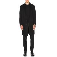 秋冬新款韩版双面羊绒大衣中长款羊毛呢外套男宽松呢子大衣男 黑色 S
