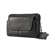 手机腰包穿皮带皮套挂腰间头层牛皮钱包横款男士老人5.5寸6寸 黑色 5.5 至 6寸通用