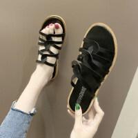 可外穿罗马风森女系平底休闲沙滩凉拖鞋交叉细带凉拖鞋