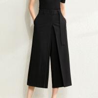 【到手价:182元】Amii极简设计感裙裤阔腿裤女2020春季新款风琴褶配腰带宽松九分裤