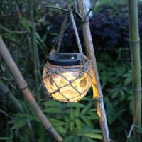 户外太阳能灯 花园景观灯庭院麻绳挂灯台灯LED蜡烛挂灯民宿客栈灯 麻绳挂灯-暖黄光