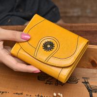 短款钱包女牛皮小钱包复古油腊皮三折女士钱包spefpk黑色竖款钱夹皮夹潮 古黄色