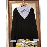 T6女装春装2018新款女士毛衣 短款针织假两件衬衫领打底衫上衣0.3