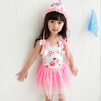 新款 裙式儿童连体泳衣 公主宝宝游泳衣婴儿温泉泳衣 白底粉花 S(90-105CM)
