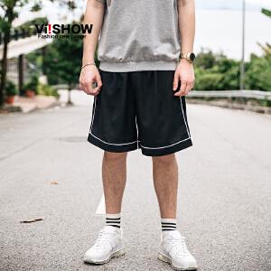 viishow夏装新品休闲短裤男运动短裤男士五分裤卫裤白条纹边