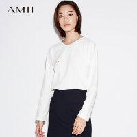 【会员节! 每满100减50】Amii[极简主义]波点T恤女2017秋季新款弹力印花落肩袖休闲上衣