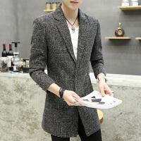 男士韩版中长款风衣男青年春秋季休闲大衣修身帅气披风个性外套潮 深灰色Q9 M/5