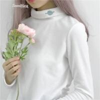 春夏女装韩版学生半高领卡通刺绣百搭修身显瘦长袖打底T恤上衣潮 白色 均码