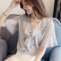 蕾丝短袖衬衫女2018夏季新款韩版修身V领短袖蕾丝衫女上衣百搭打底衫