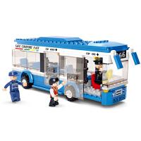 小鲁班双层巴士公交汽车儿童拼装玩具车7-10岁男孩子组装积木