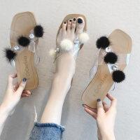 户外水钻透明毛毛凉拖鞋女外穿ins百搭时尚小熊平底鞋子