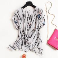 女装夏季中国风水墨印花蝙蝠袖宽松真丝上衣短袖T恤6555 花色