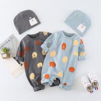 淘气麦兜 婴儿连体衣服棉新生儿男春秋女宝宝0岁3春装1哈衣6个月幼儿睡衣