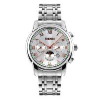 男士手表钢带六针防水石英表时尚潮流腕表月份星期多功能表