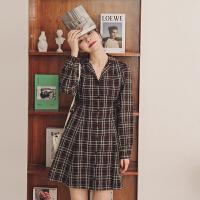 【6折到手价:82.8元】格子通勤连衣裙2020年春季新款女装韩版宽松复古高腰长袖中长裙子