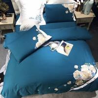 家纺秋冬款保暖床品60支全棉纯棉磨毛刺绣被套床单四件套 蓝色