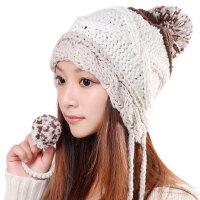 韩版潮毛线帽子女秋冬季保暖可爱手工球球护耳针织帽子