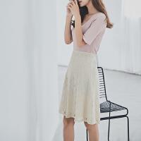 RANJU 然聚2018女装夏季新品新款气质百搭蕾丝半身裙中长裙